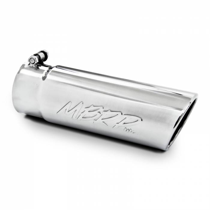 """MBRP Exhaust - MBRP (3.5"""" Inlet, 4"""" Outlet, 12"""" Length) Angle Cut Rolled End Stainless Exhaust Tip T5112"""