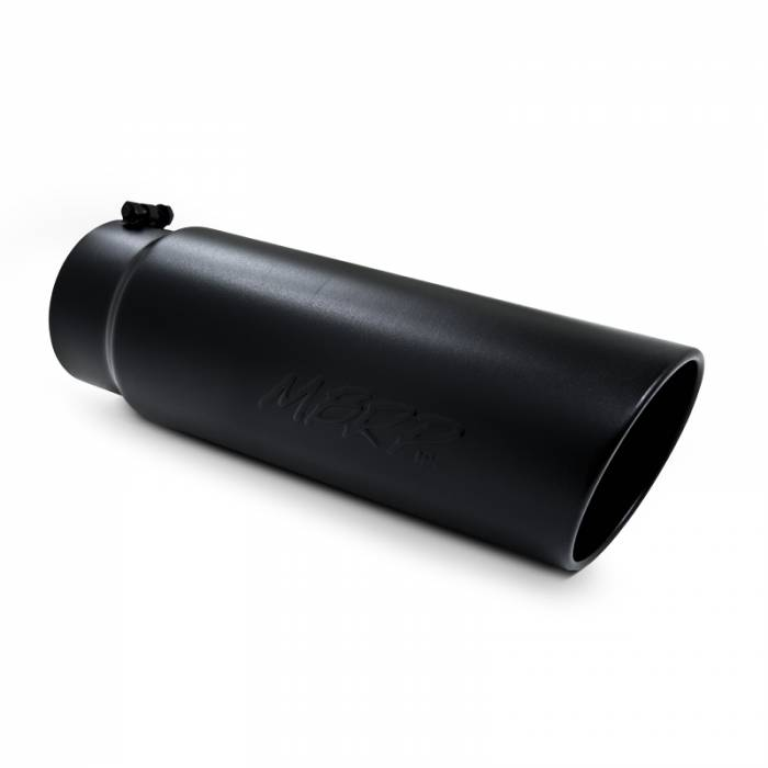 """MBRP Exhaust - MBRP (4"""" Inlet, 5"""" Outlet, 18"""" Length) Angle Cut Rolled End Black Exhaust Tip T5124BLK"""