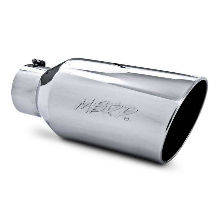 "MBRP Exhaust - MBRP (5"" Inlet, 8"" Outlet, 18"" Length) Angle Cut Rolled End Stainless Steel Exhaust Tip T5129"