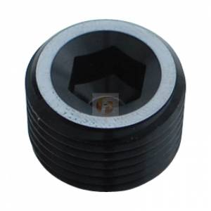 Shop By Part - Fittings & Hardware - Fleece Performance - Fleece Performance 1/2 Inch NPT Hex Socket Plug Black Fleece Performance FPE-AN932-05DBK