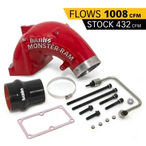 2003-2007 Dodge 5.9L 24V Cummins - Engine Components - Banks Power - Banks Power Monster-Ram Intake Elbow W/Fuel Line and Hump Hose 4 Inch Red Powder Coated 07.5-18 Dodge/Ram 2500/3500 6.7L Banks Power 42790-PC