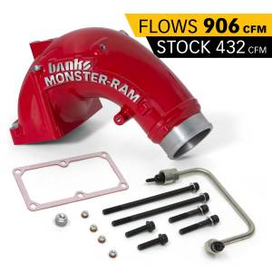 2007.5-2019 Dodge 6.7L 24V Cummins - Engine Components - Banks Power - Banks Power Monster-Ram Intake Elbow Kit W/Fuel Line 3.5 Inch Red Powder Coated 07.5-18 Dodge/Ram 2500/3500 6.7L Banks Power 42788-PC