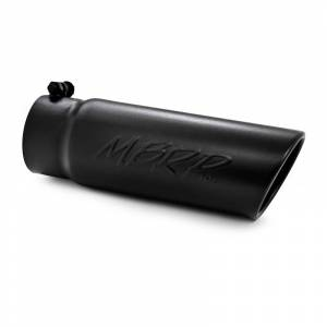 "MBRP Exhaust - MBRP (3.5"" Inlet, 4"" Outlet, 12"" Length) Angle Cut Rolled End Black Exhaust Tip T5112BLK"
