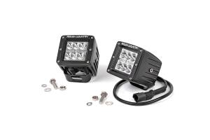 Lighting - Offroad Lights - PowerTech Diesel - 2-INCH SQUARE CREE LED LIGHTS - (PAIR | CHROME SERIES)