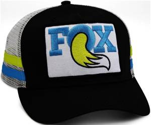 Gear & Apparel - Hats - Fox Factory Inc - Fox Factory Inc 2017, FOX Throwback Trucker Hat, Black/Blue/Yellow, O/S 495-01-227